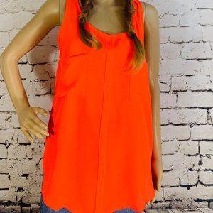 Neon orange tank w/ oversize pockets & back slit